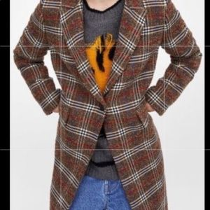 Zara masculine lapel coat brown Checkered